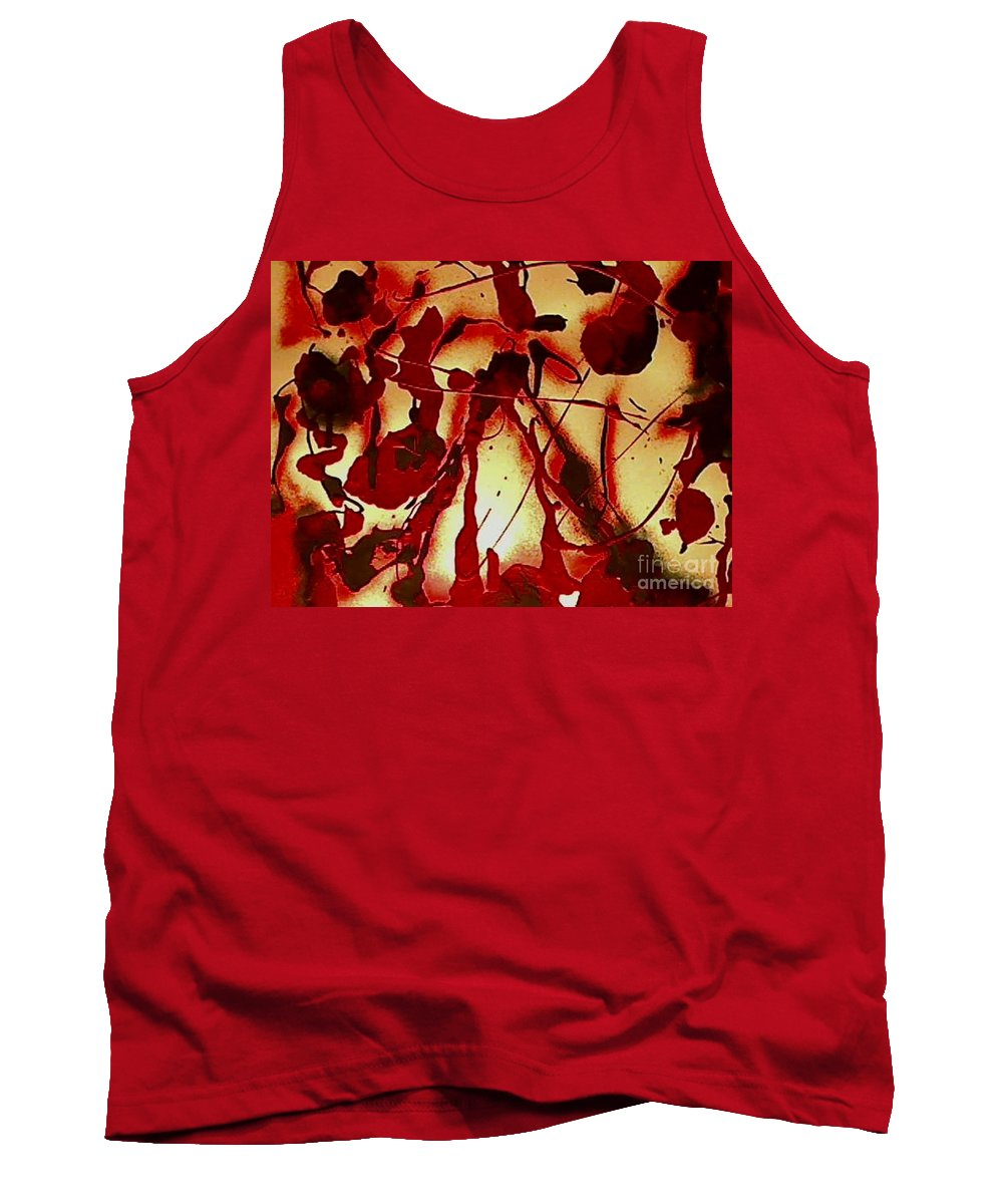Red Tank Top featuring the painting Thorn by Mark Herman