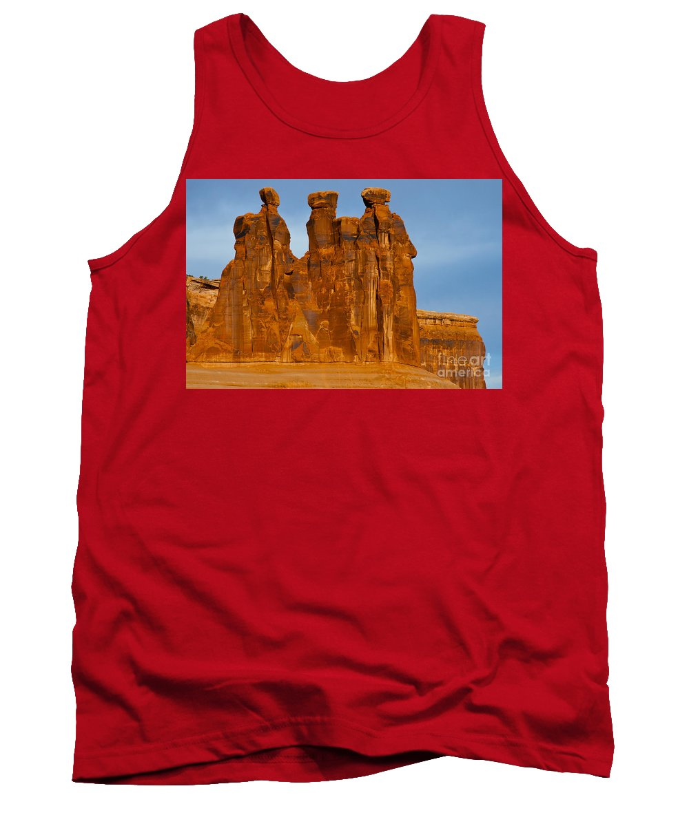 Arches National Park Utah Parks Natural Monuments Three Gossips Rock Formation Formation Sandstone Monolith Monoliths Landscape Landscapes Tank Top featuring the photograph Three Gossips by Bob Phillips