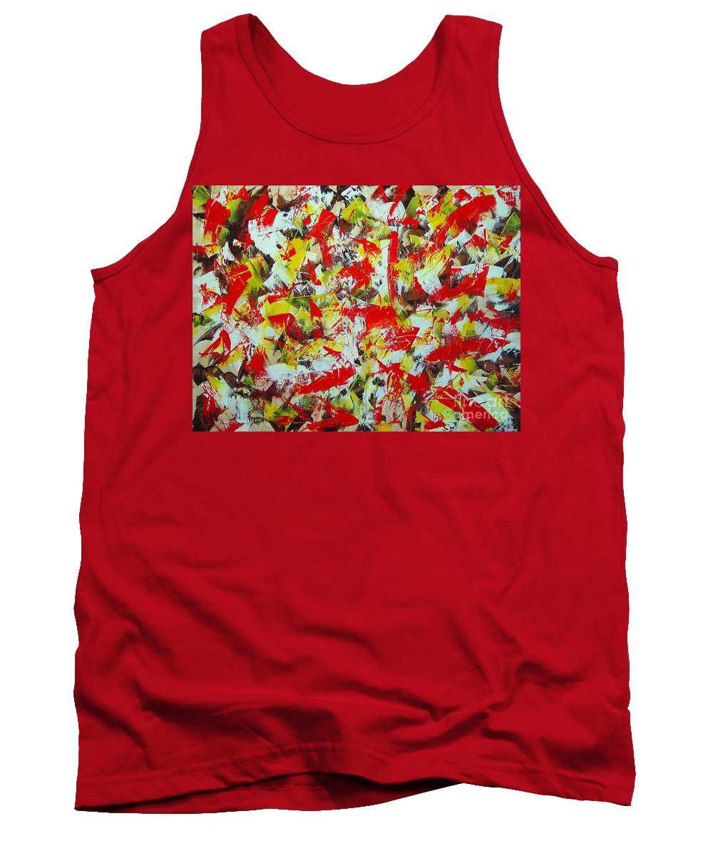Abstract Tank Top featuring the painting Transitions With Yellow Brown And Red by Dean Triolo