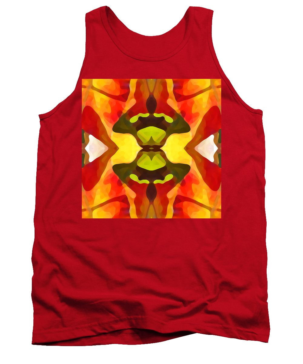 Abstract Tank Top featuring the painting Tropical Leaf Pattern 1 by Amy Vangsgard