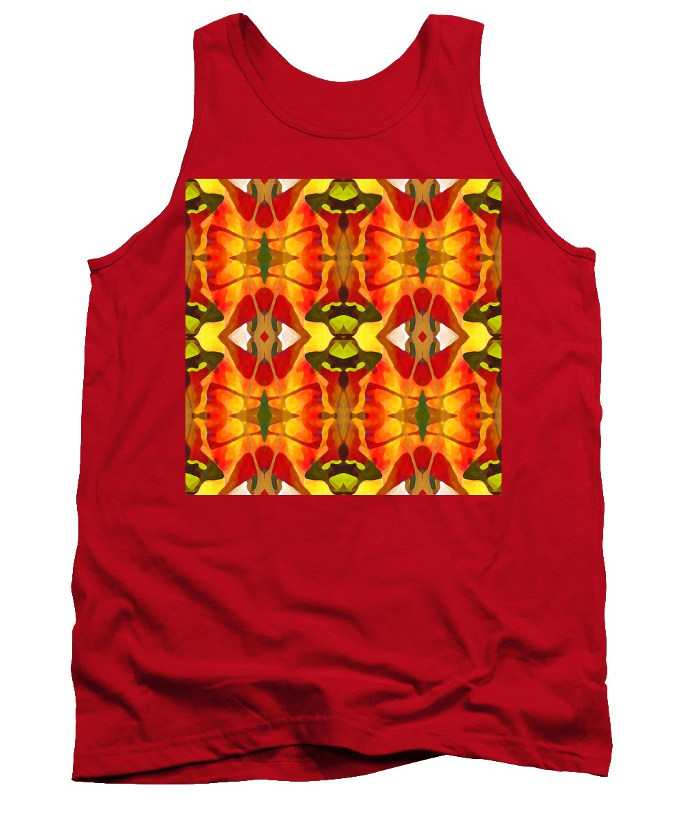 Abstract Tank Top featuring the painting Tropical Leaf Pattern 2 by Amy Vangsgard