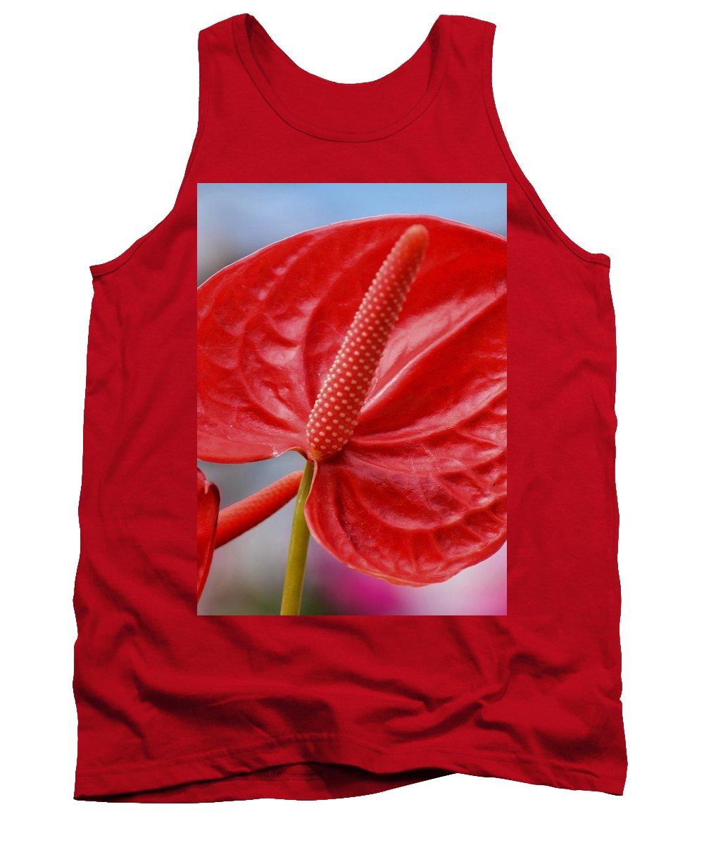 Tropical Tank Top featuring the photograph Tropical Red Anthurium by Maria Urso