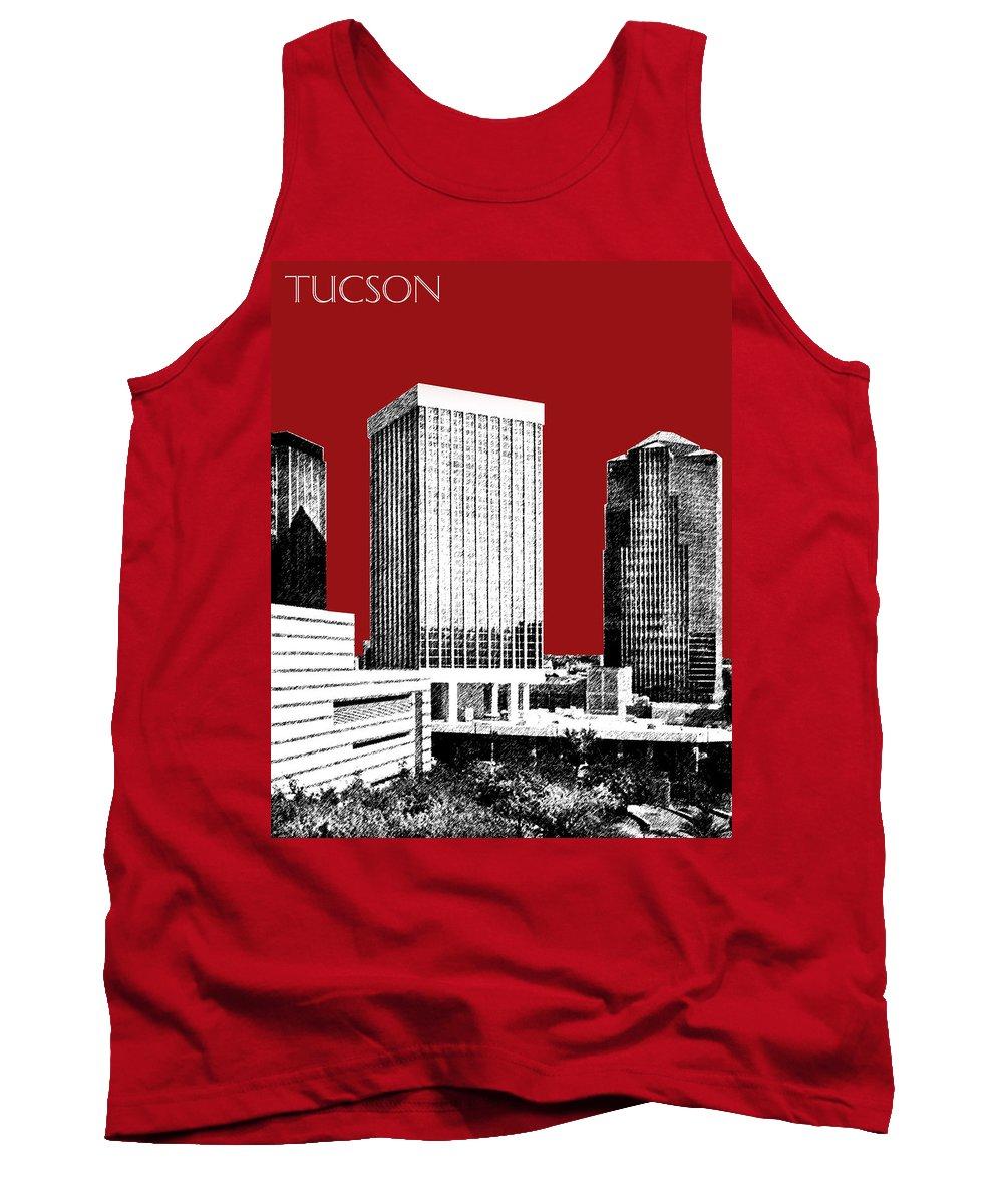 Architecture Tank Top featuring the digital art Tucson Skyline 1 - Dark Red by DB Artist