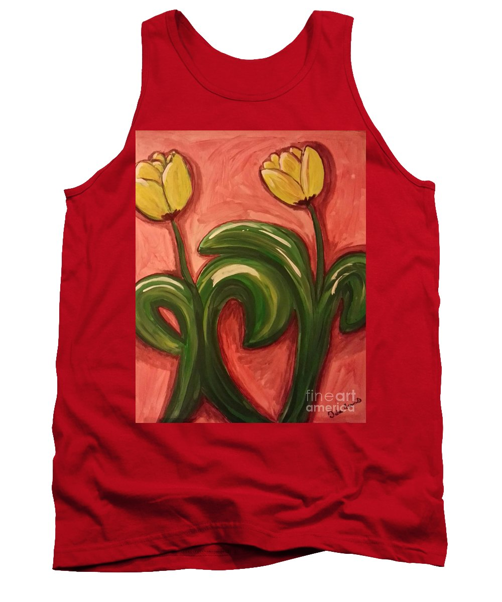 Flowers Tank Top featuring the painting Dancing Tulips by Debra Acevedo