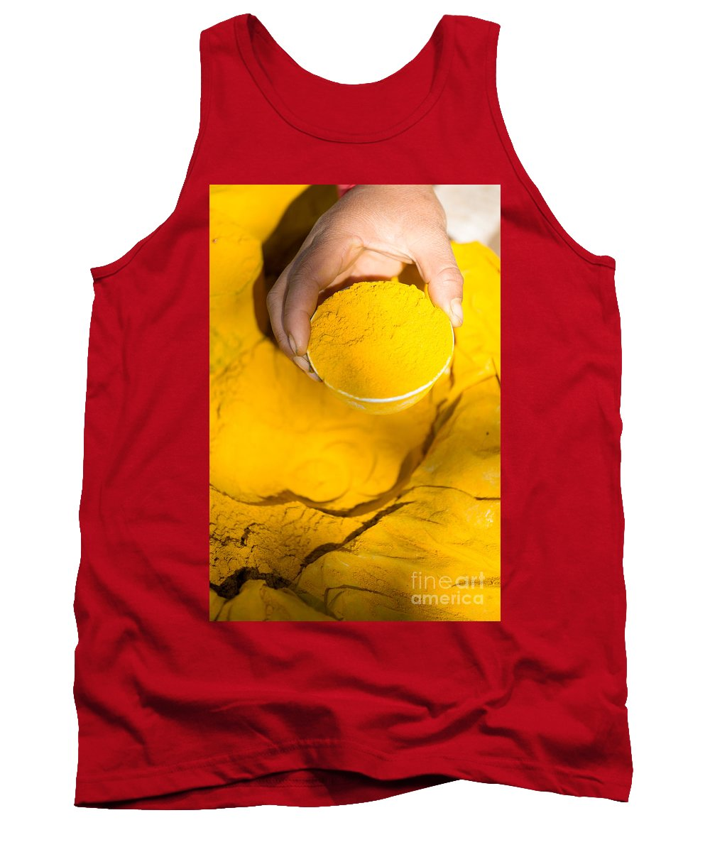 Turmeric Tank Top featuring the photograph Turmeric Powder At Local Market - Myanmar by Matteo Colombo