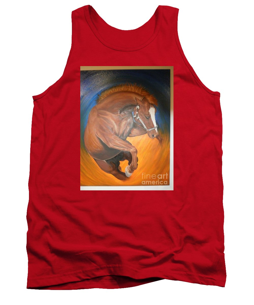 Horse Tank Top featuring the painting Undefeated by Dr B Lynn Tillman
