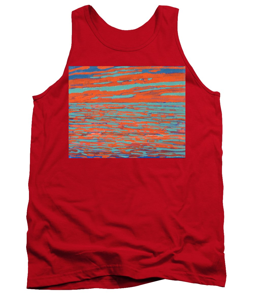 Sunset Tank Top featuring the painting Valdy Sunset by Phil Chadwick