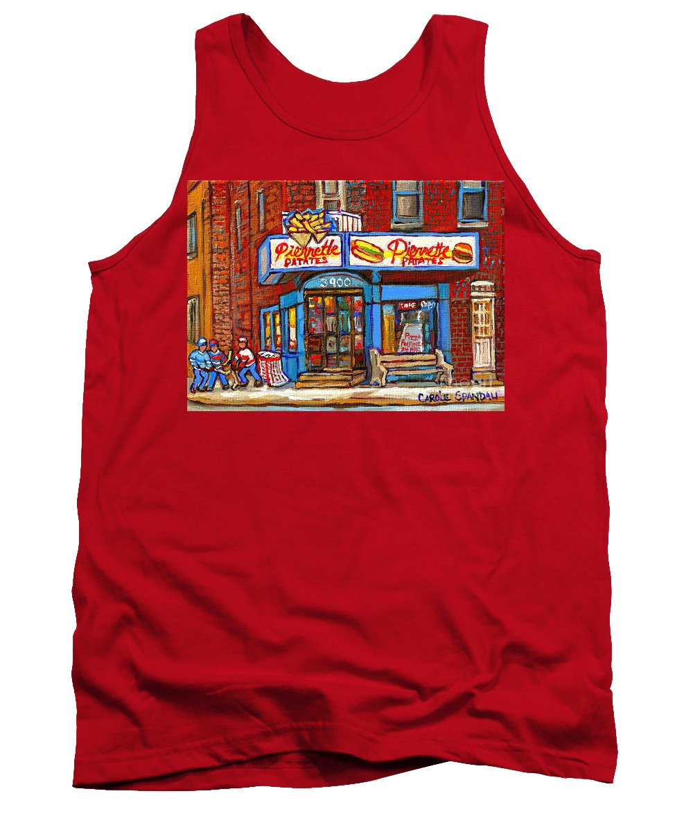 Verdun Tank Top featuring the painting Verdun Famous Restaurant Pierrette Patates - Street Hockey Game At 3900 Rue Verdun - Carole Spandau by Carole Spandau