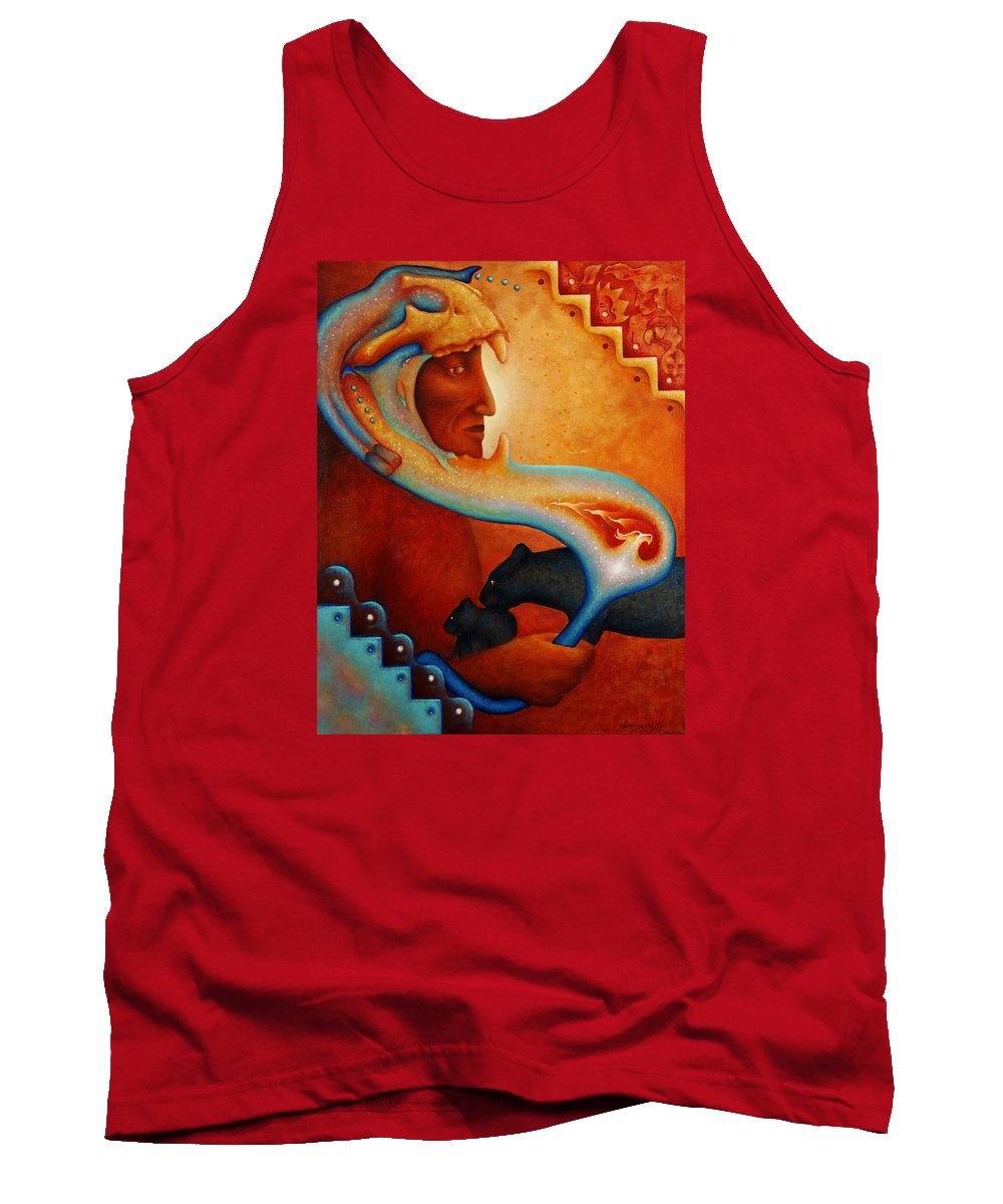 Native American Tank Top featuring the painting Visions Of A New Earth by Kevin Chasing Wolf Hutchins