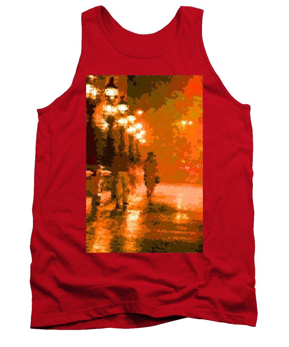 Rain Tank Top featuring the painting Walking In The Rain 02 by Samuel Majcen