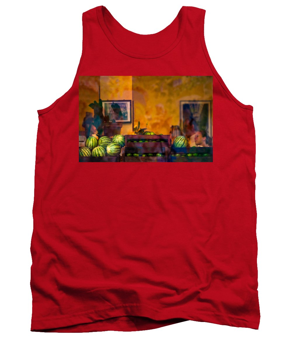 City Life Tank Top featuring the photograph Watermelons On The Window Sill by Peter v Quenter