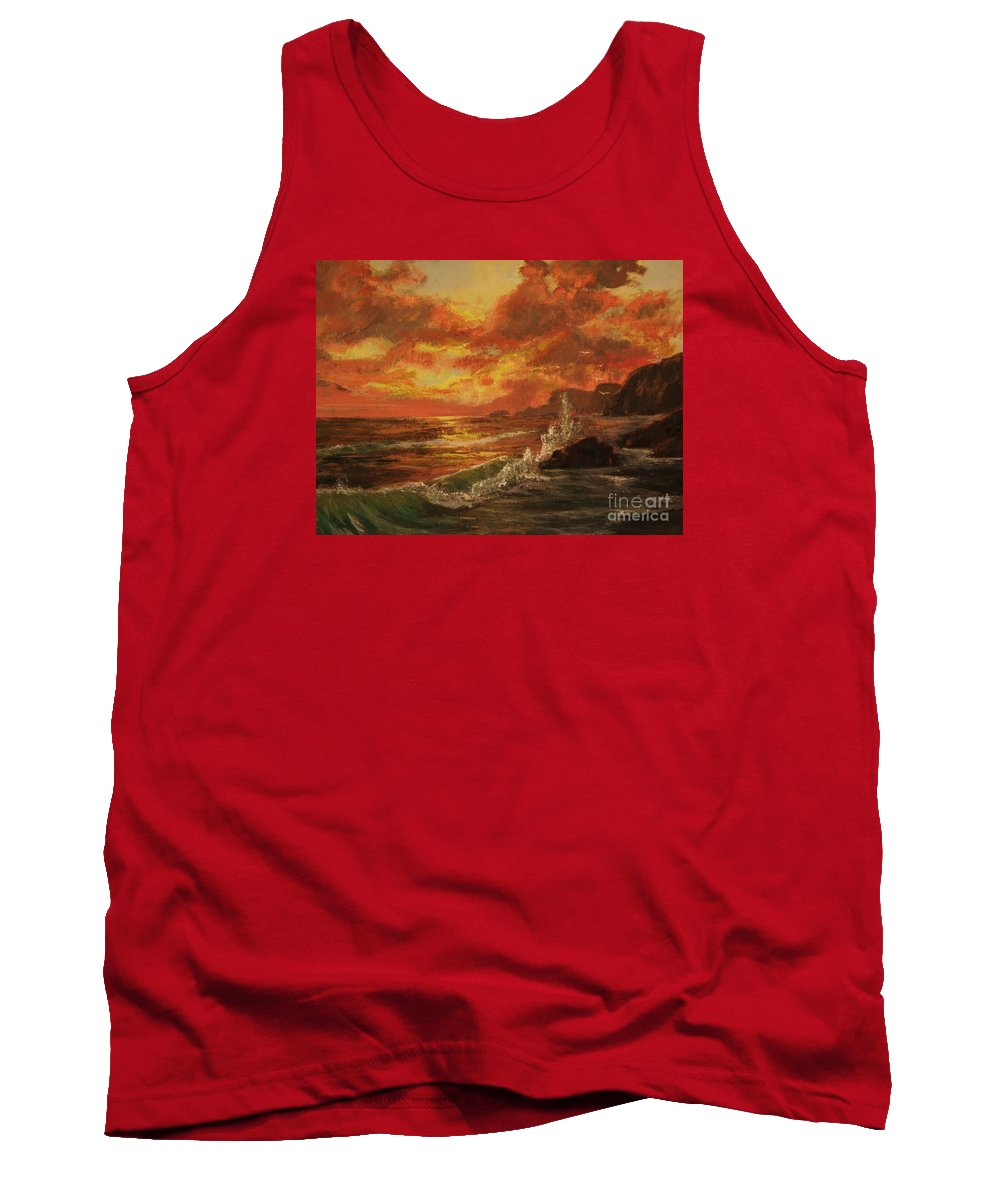 Ocean Tank Top featuring the painting Wave Crash by Vanessa Palomino
