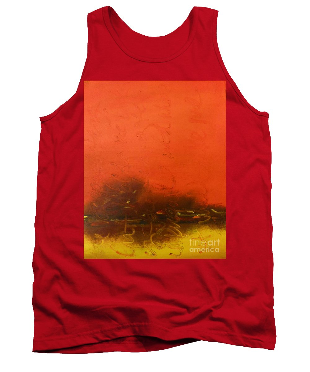 Orange Tank Top featuring the painting What Holds Me by Kitty Mecham