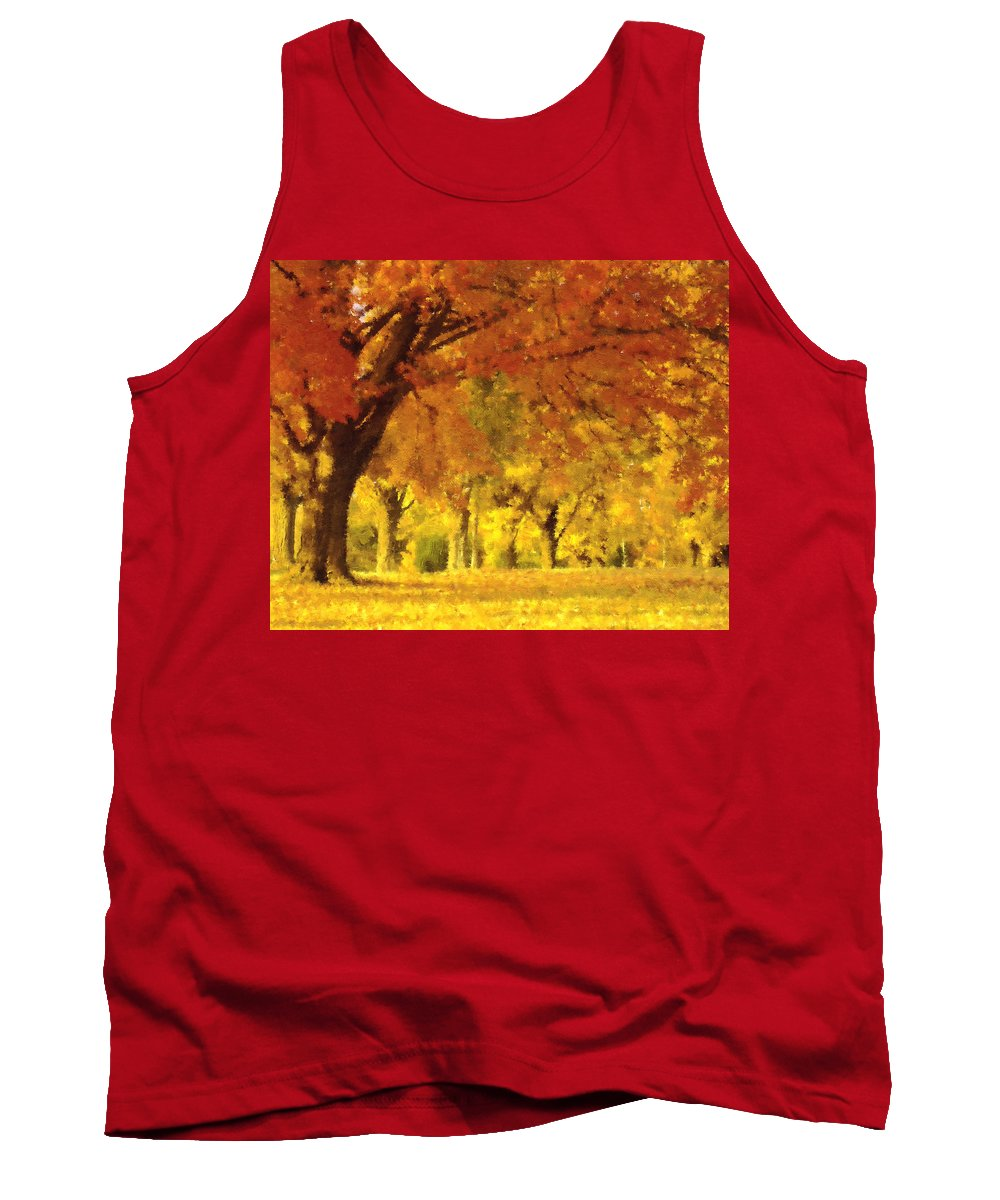 Impressionism Tank Top featuring the mixed media When Autumn Leaves Fall by Georgiana Romanovna