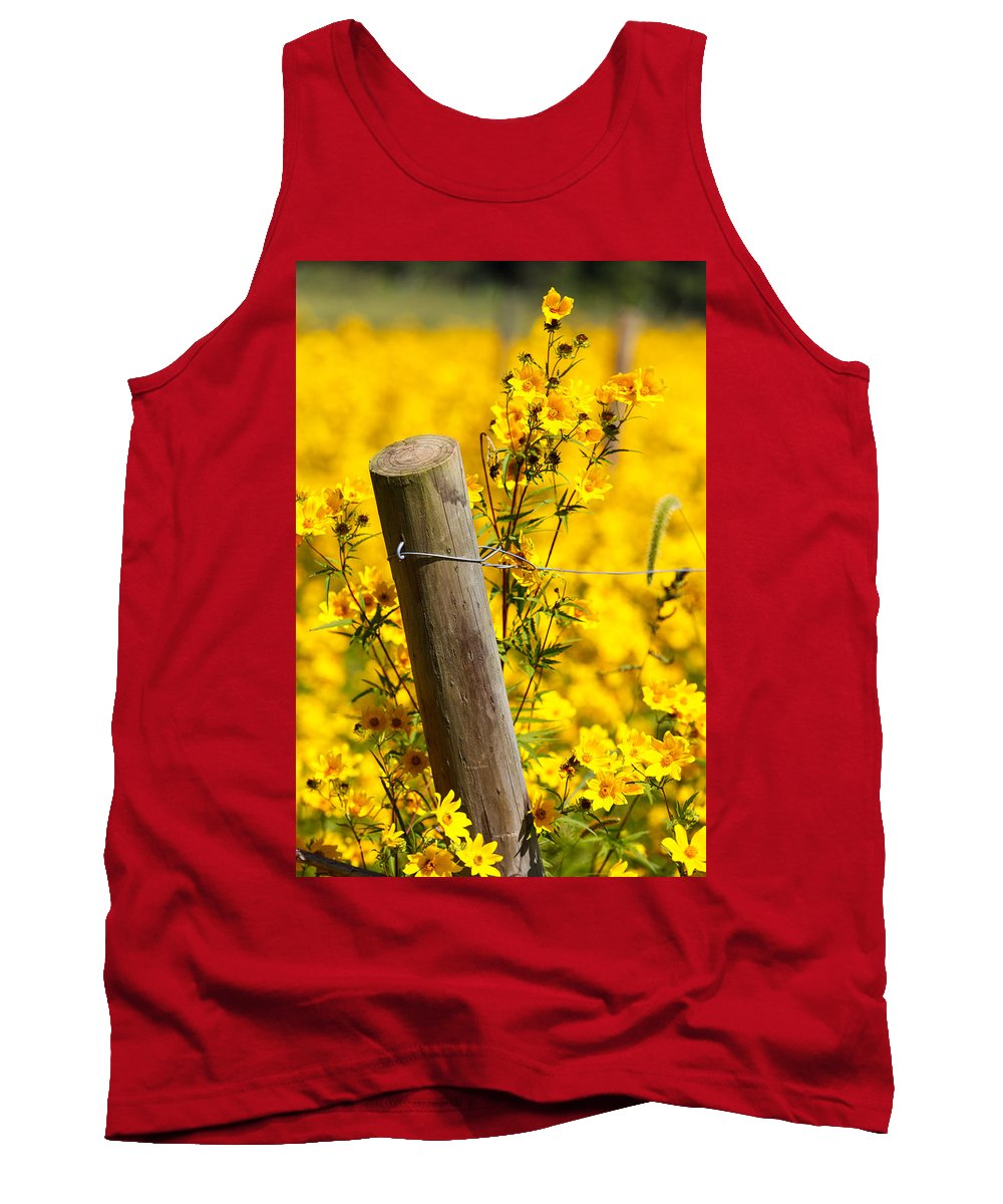 Wildflowers Tank Top featuring the photograph Wildflowers On Fence Post by Carol VanDyke