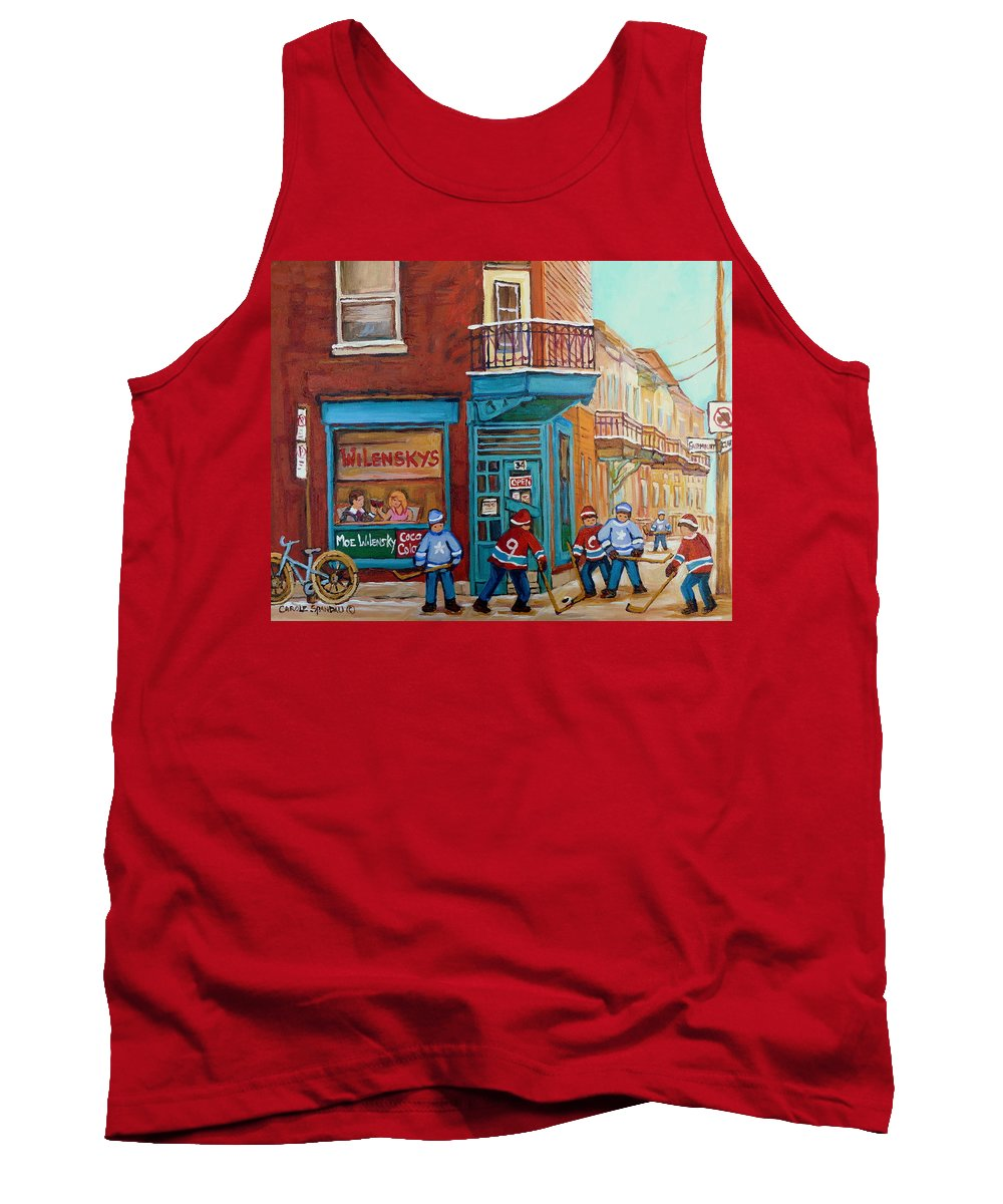 Wilensky's Montreal Tank Top featuring the painting Wilensky Montreal-fairmount And Clark-montreal City Scene Painting by Carole Spandau