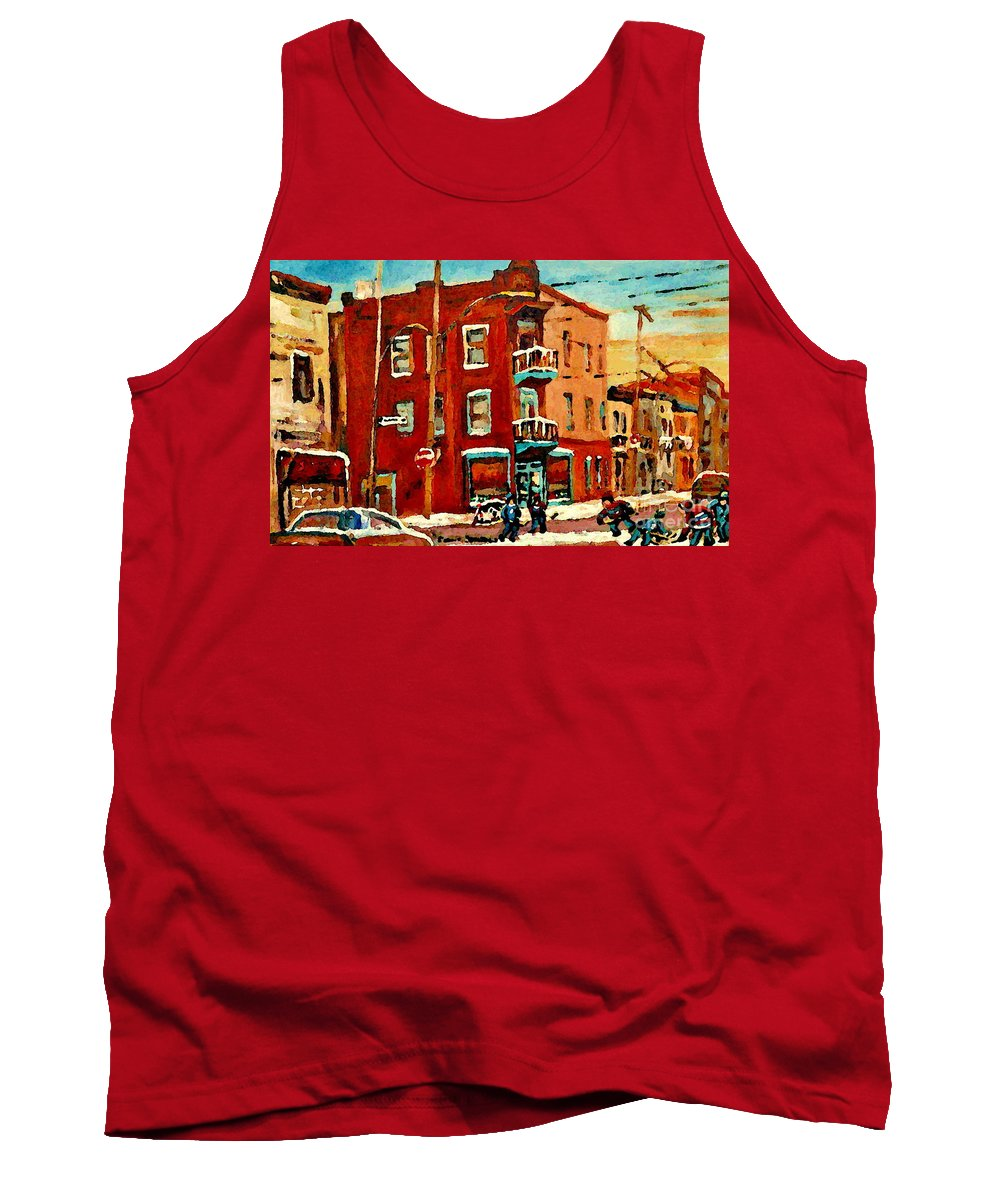 Wilenskys Deli Tank Top featuring the painting Wilenskys Hockey Art Paintings Originals Commissions Prints Montreal Deps Street Art Carole Spandau by Carole Spandau