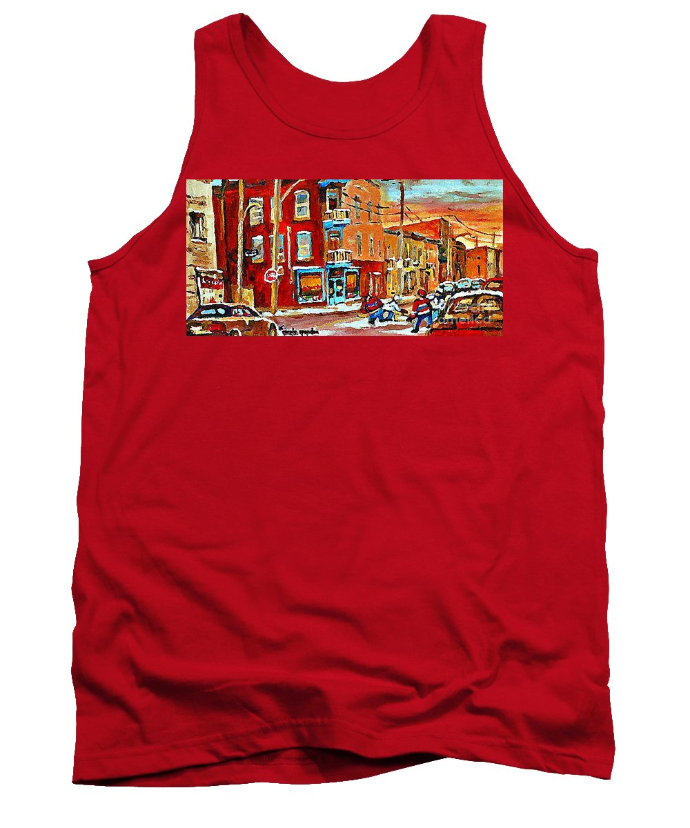 Montreal Tank Top featuring the painting Wilenskys Paintings Hockey Art Prints Originals Commissions Contact Popular Montreal Artist Cspandau by Carole Spandau