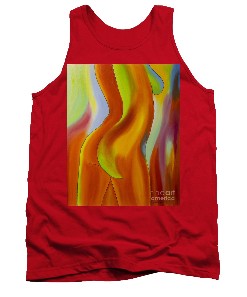 Abstract Tank Top featuring the painting Woman 2 by Veikko Suikkanen