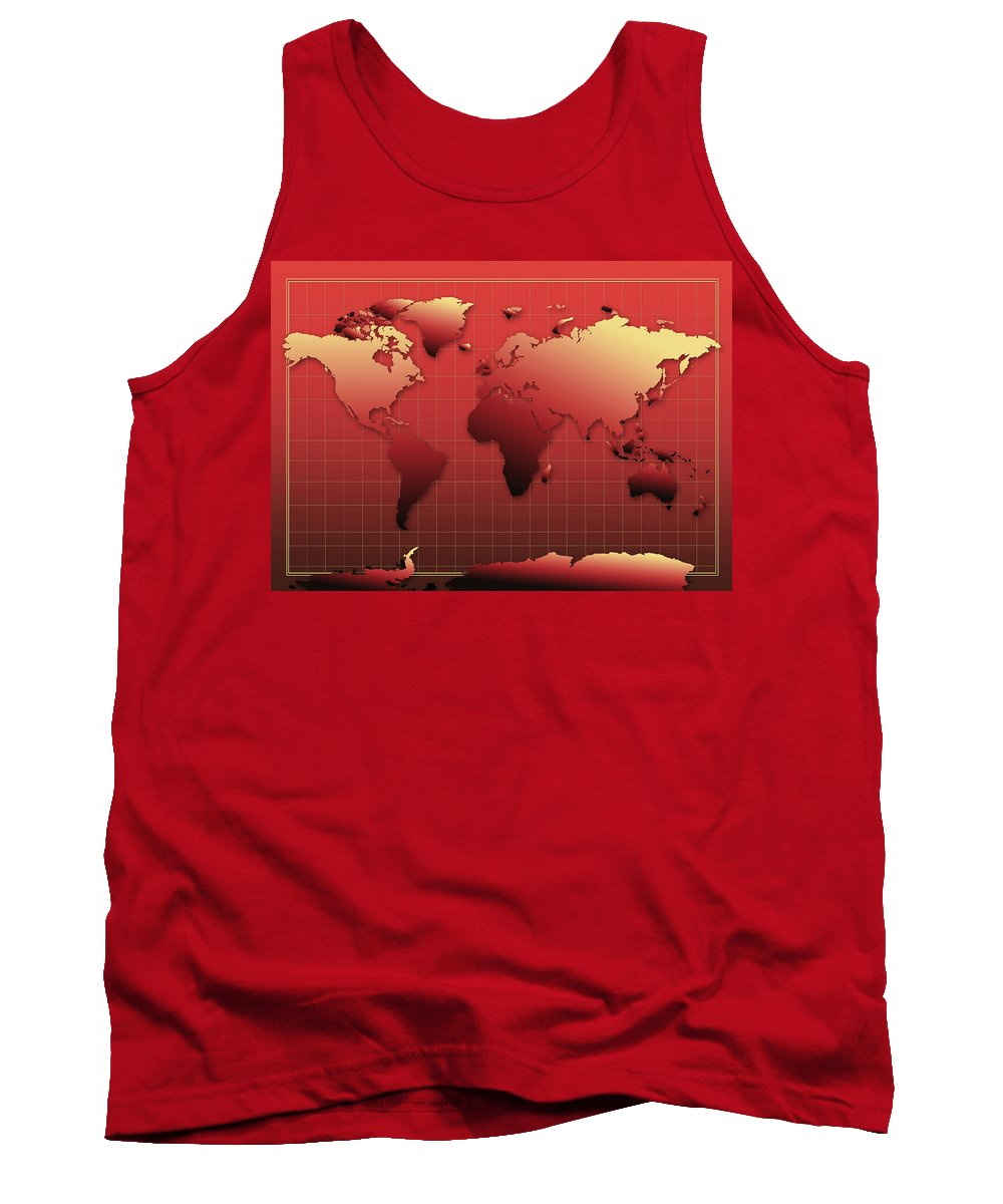 Map Of The World Tank Top featuring the painting World Map In Red by Bekim Art
