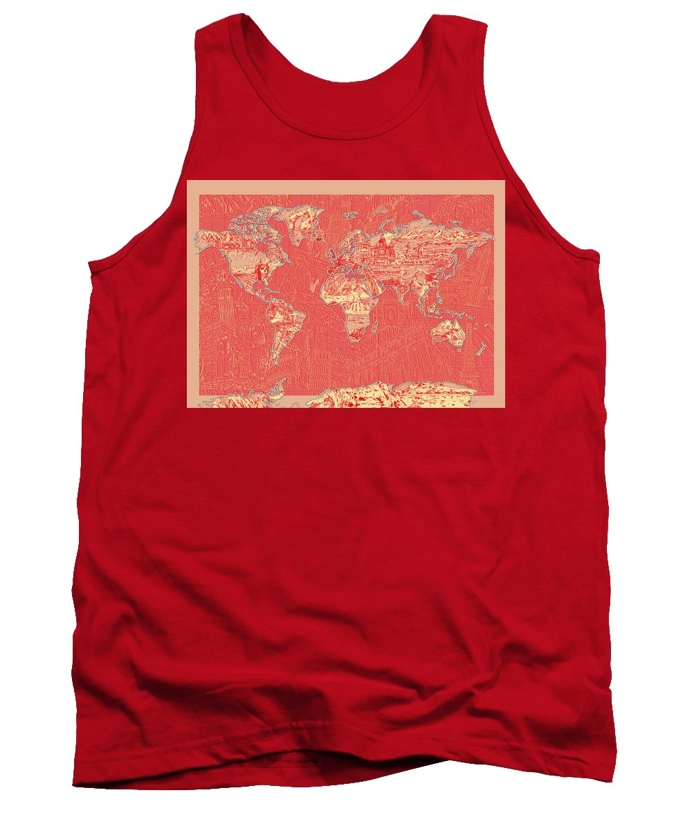 Map Of The World Tank Top featuring the painting World Map Landmark Collage Red by Bekim Art