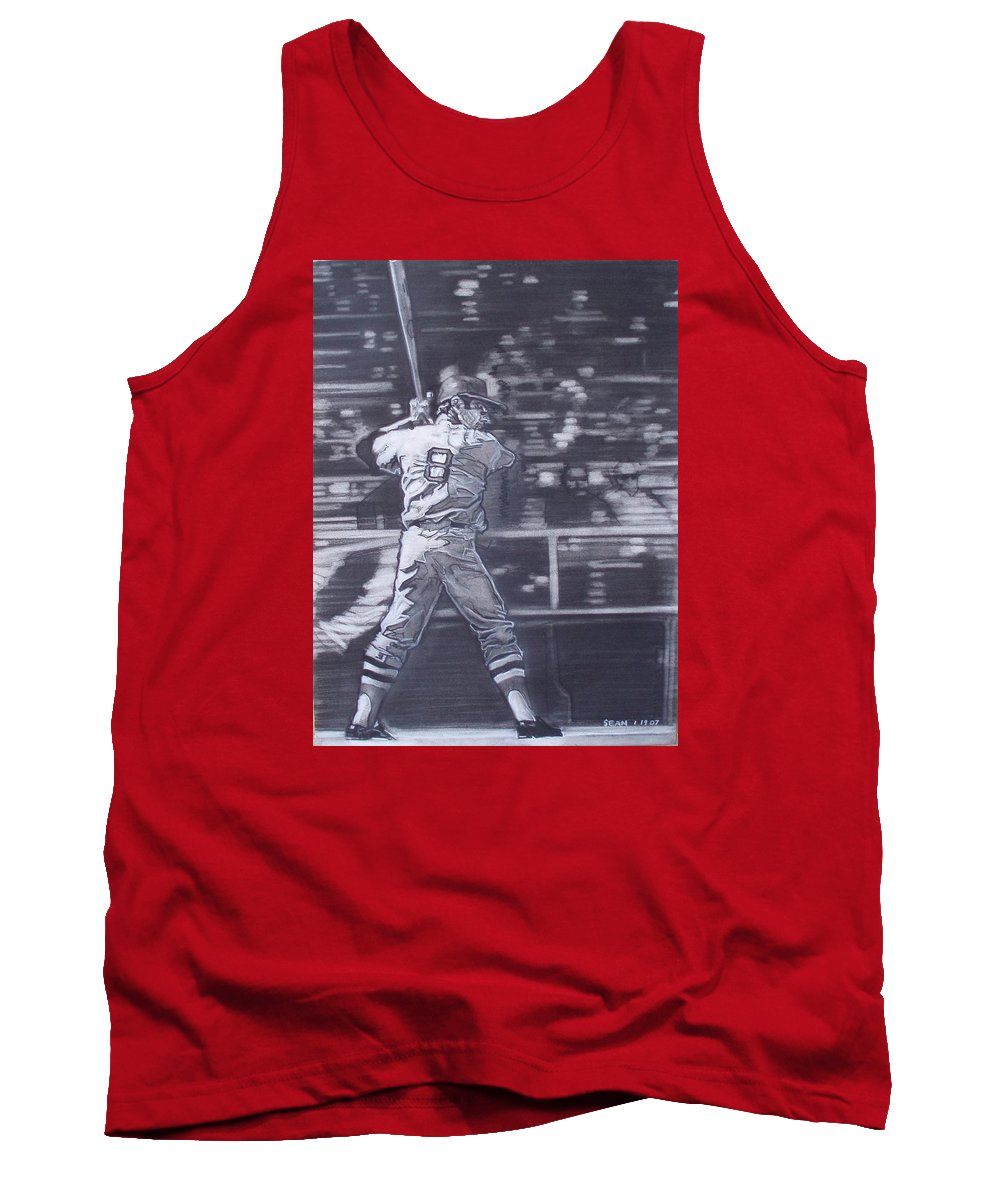 Charcoal On Paper Tank Top featuring the drawing Yaz - Carl Yastrzemski by Sean Connolly