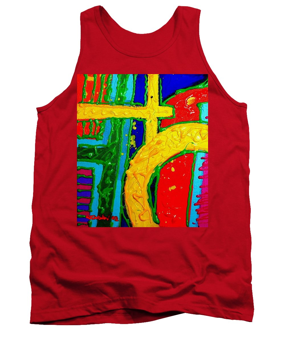 Abstract Tank Top featuring the painting Yellow Circle by John Nolan