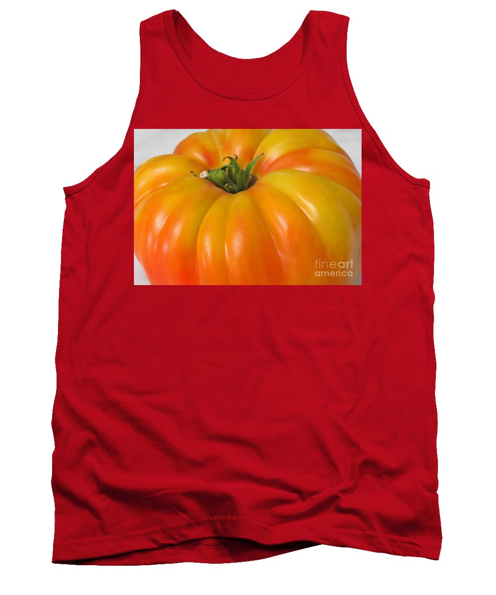 Tomato Tank Top featuring the photograph Yellow Heirloom Tomato Art Prints by Valerie Garner