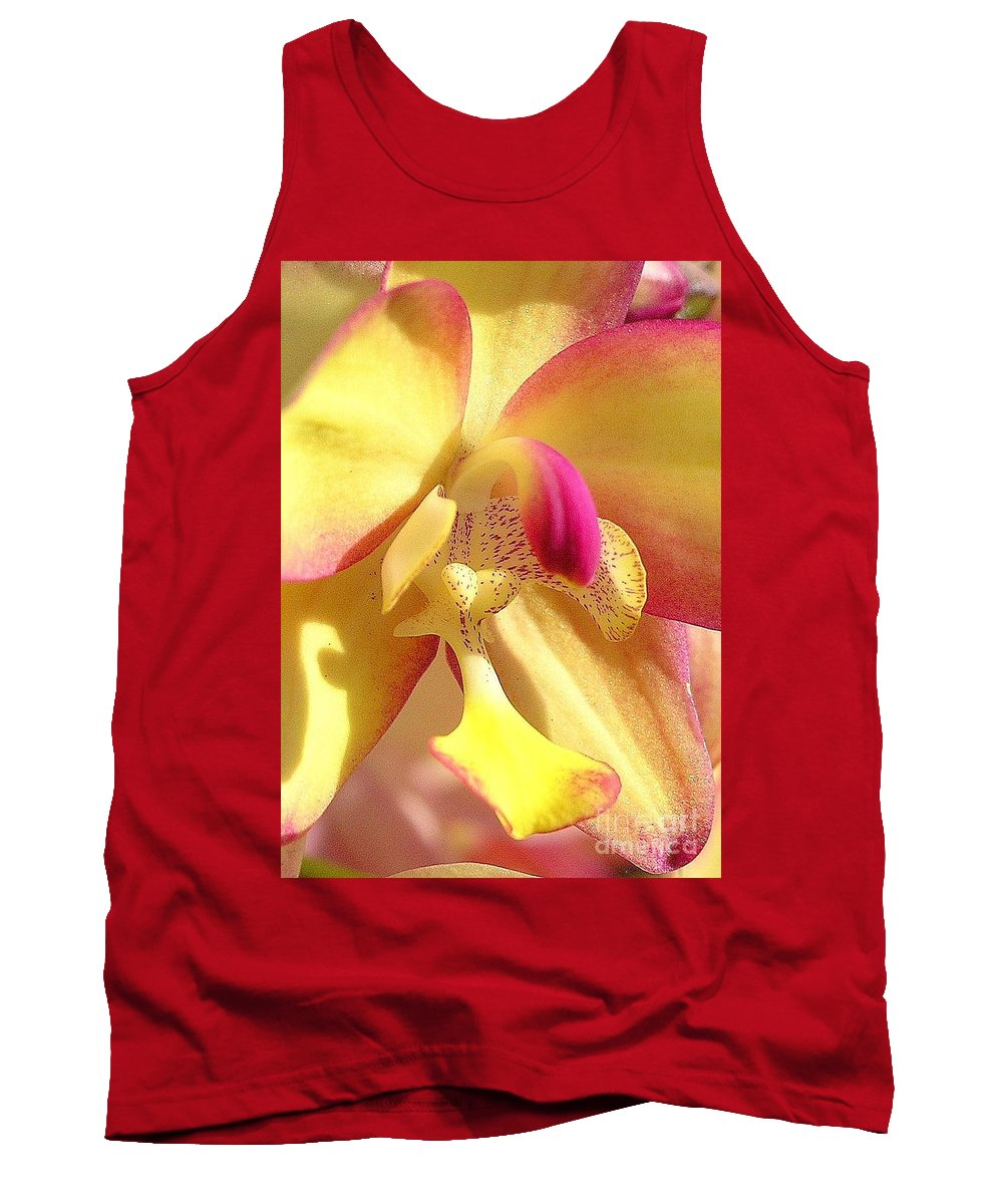 Yellow Tank Top featuring the photograph Yellow Pink Orchid by Mary Deal
