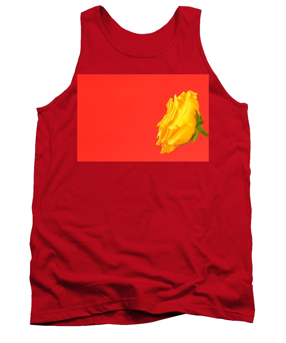 Color Tank Top featuring the photograph Yellow Rose On Red by Dan Sherwood