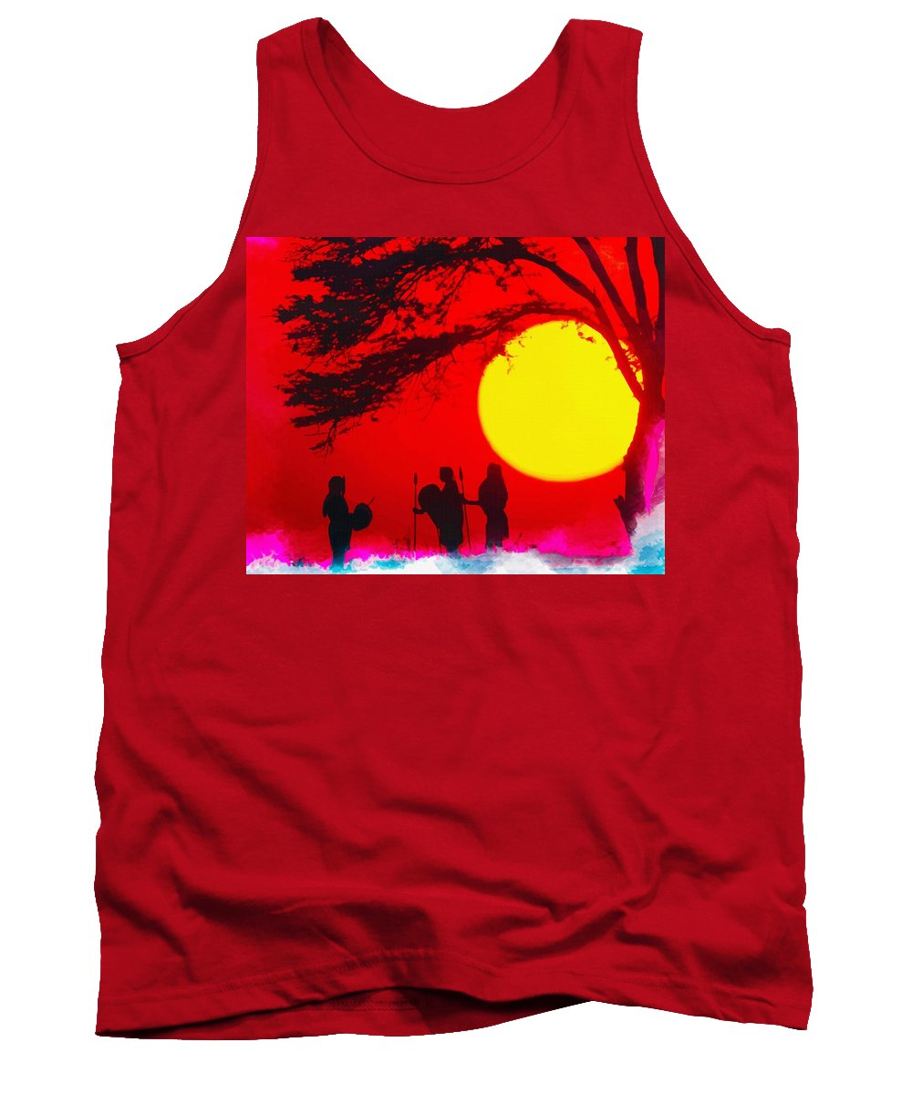 Print Tank Top featuring the digital art Young Warriors by Don Kuing