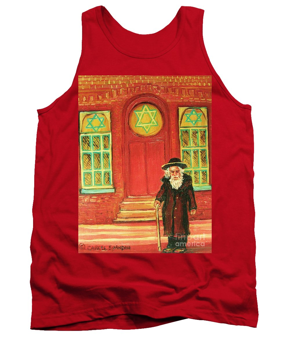 Synagogues Tank Top featuring the painting Zaida's Shul by Carole Spandau