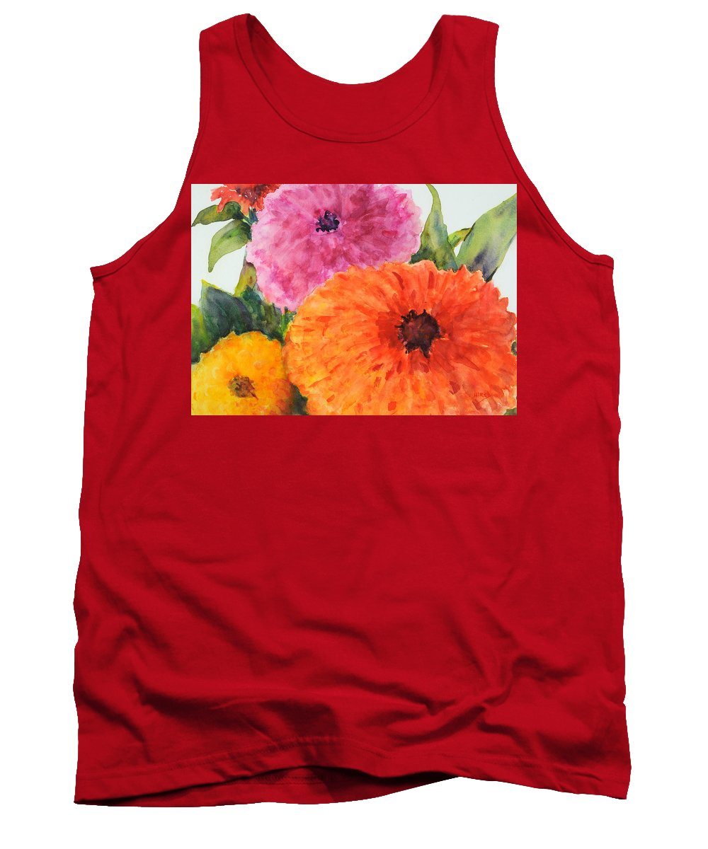 Zinnias Tank Top featuring the painting Zinnias Up Close by Cathy Hirsh