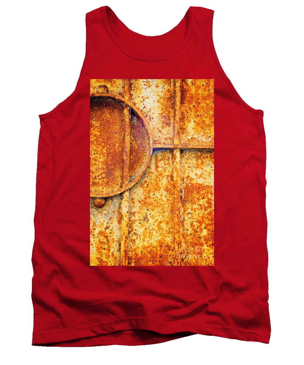Rusty Tank Top featuring the photograph Rusty Gate Detail by Silvia Ganora