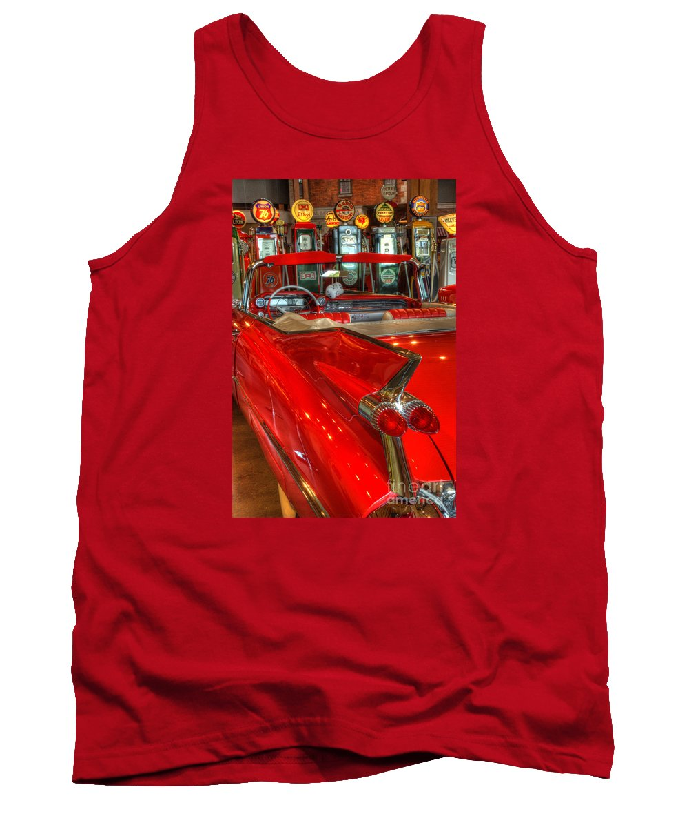 Cars Tank Top featuring the photograph 1959 Cadillac At The Pumps by Bob Christopher