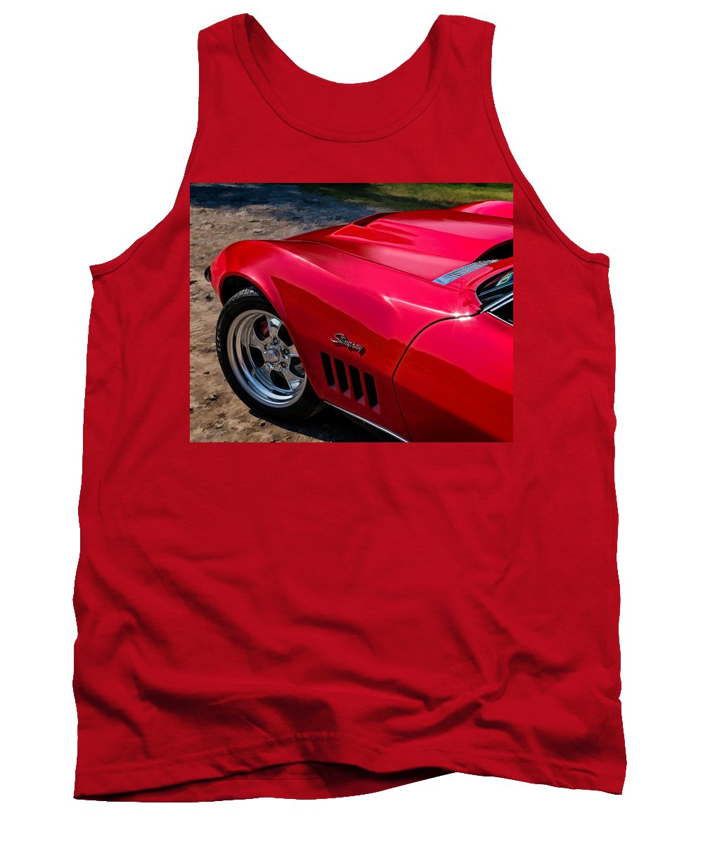 Red Tank Top featuring the digital art 69 Red Detail by Douglas Pittman