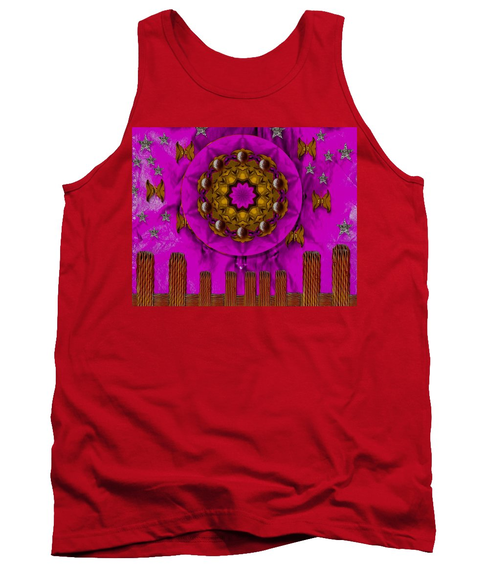 Landscape Tank Top featuring the mixed media A Heavenly Sunshine Landscape by Pepita Selles