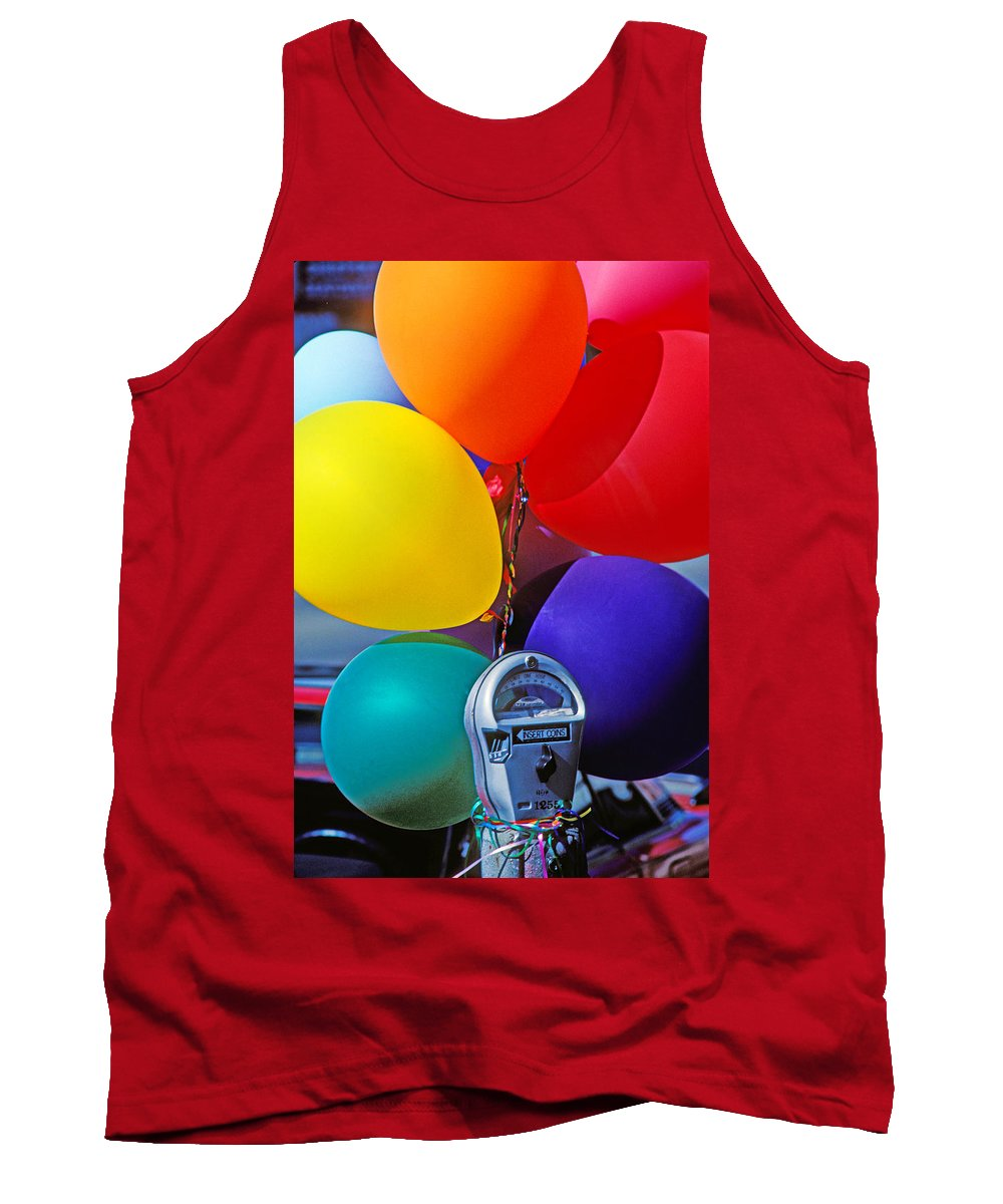 Balloons Tank Top featuring the photograph Balloons Tied To Parking Meter by Garry Gay