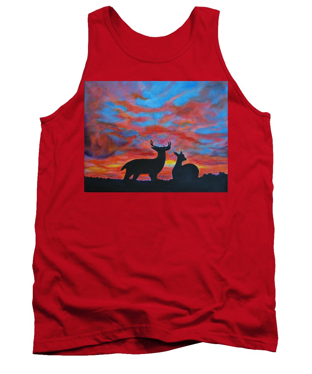 Buck Painting Tank Top featuring the painting Buck And Doe by Leslie Allen