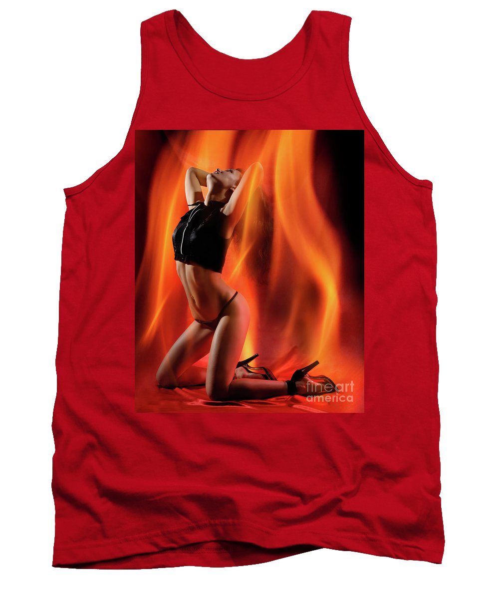 Beautiful Tank Top featuring the photograph Burning In Flames by Oleksiy Maksymenko
