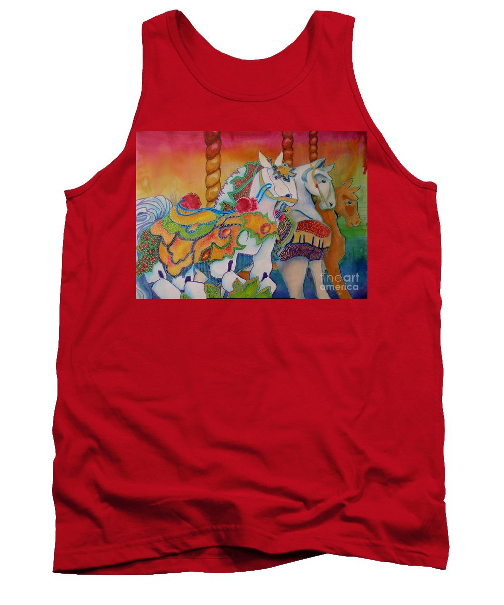 Horses Tank Top featuring the painting Carousel Of Horses by Genie Morgan