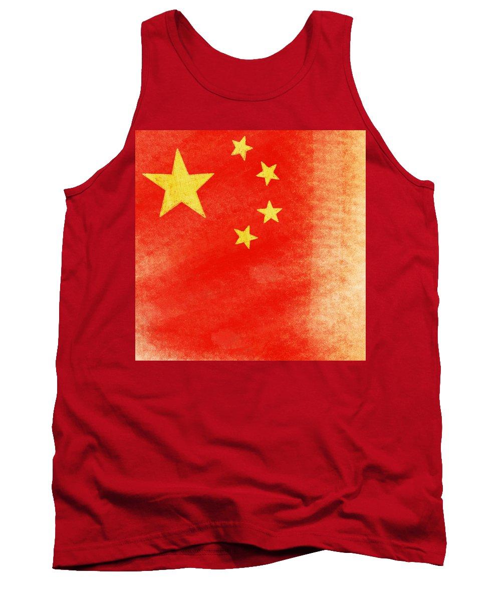 Aged Tank Top featuring the painting China Flag by Setsiri Silapasuwanchai