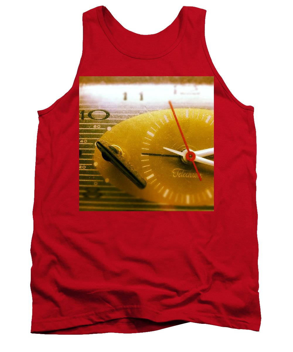 Yellow Clock 1234567890 Time Vintage Analog Second Minute Hour Digits Hands Knob Monochrome Tank Top featuring the photograph Clockwork by Gabe Arroyo