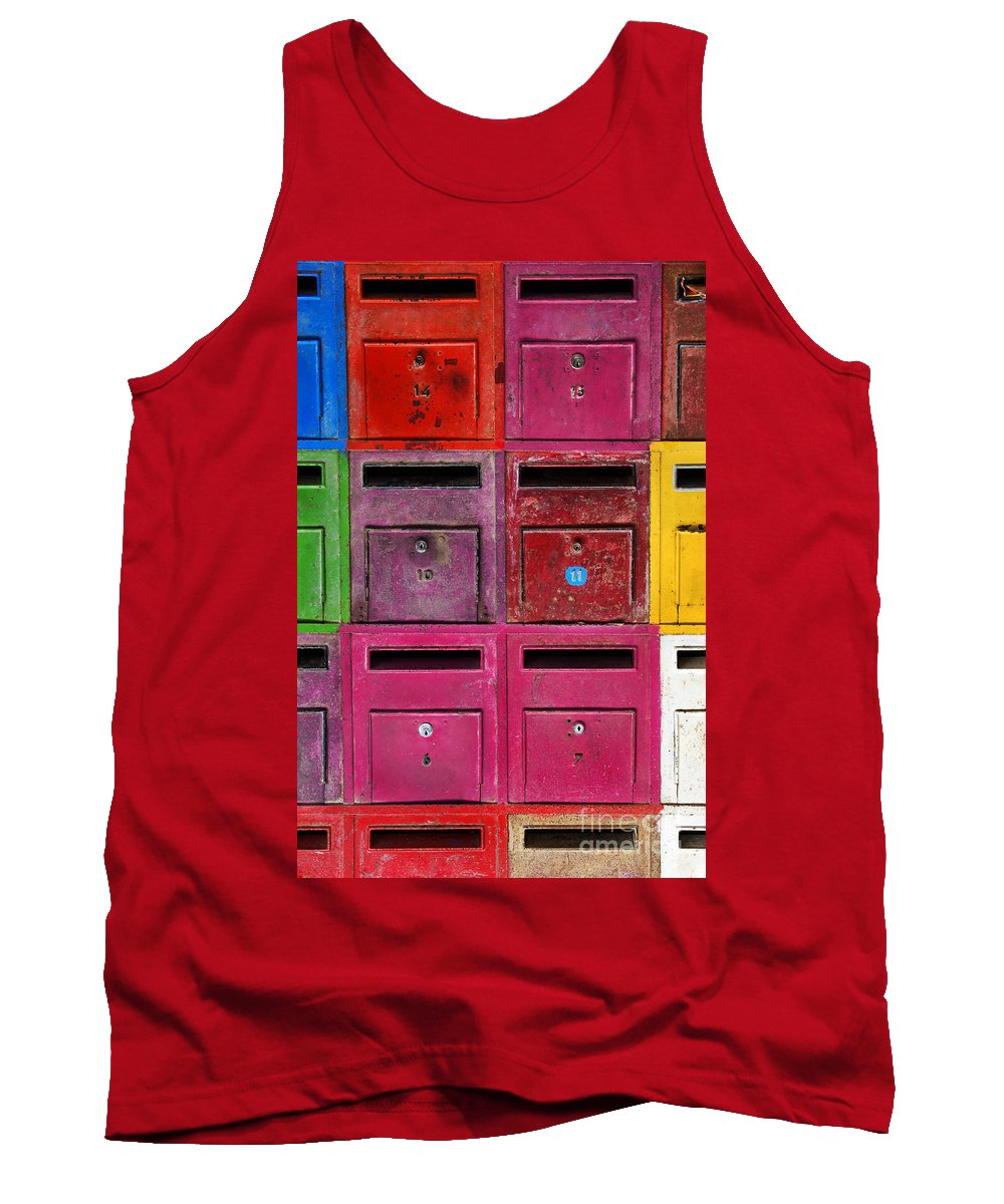 Address Tank Top featuring the photograph Colorful Mailboxes by Carlos Caetano