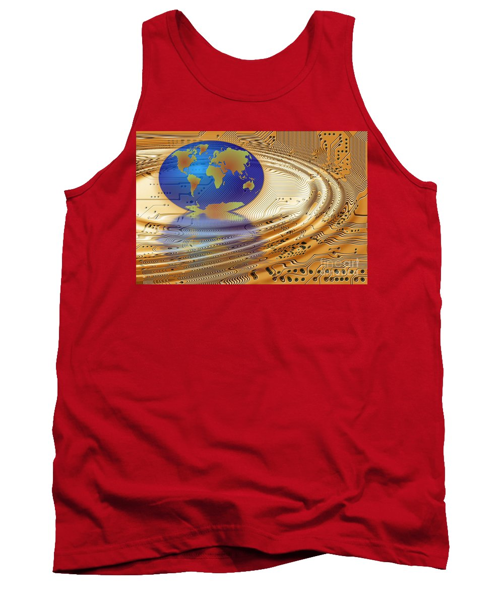 Communication Tank Top featuring the digital art Earth In The Printed Circuit by Michal Boubin