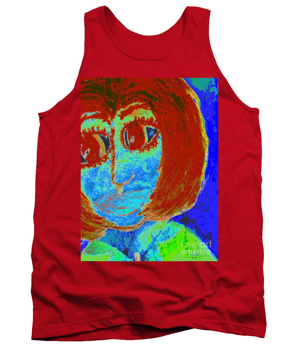 Blue Tank Top featuring the painting Feeling Blue And Totally Frustrated by Angela L Walker