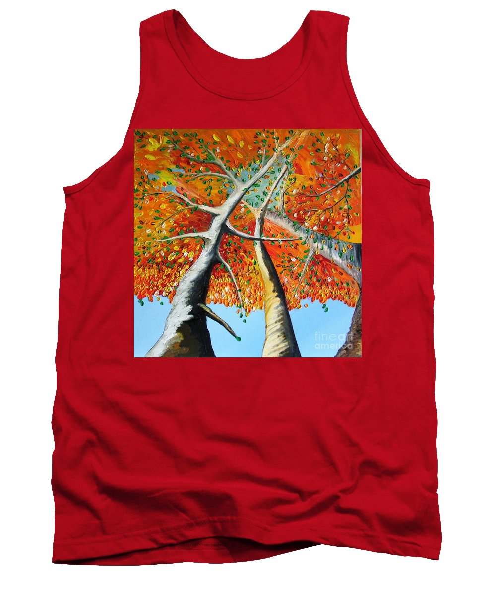 Landscape Tank Top featuring the painting Fiery Trees by Alfie Borg