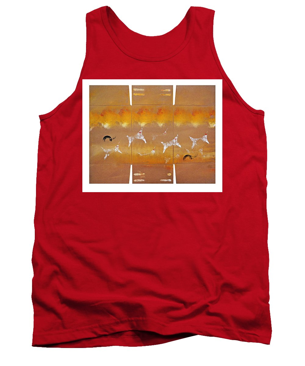 Native Tank Top featuring the painting Fire Flight by Charles Stuart