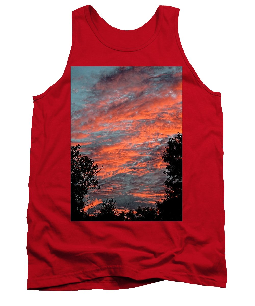 Sunset Tank Top featuring the photograph Flaming Sky by Mark Sellers