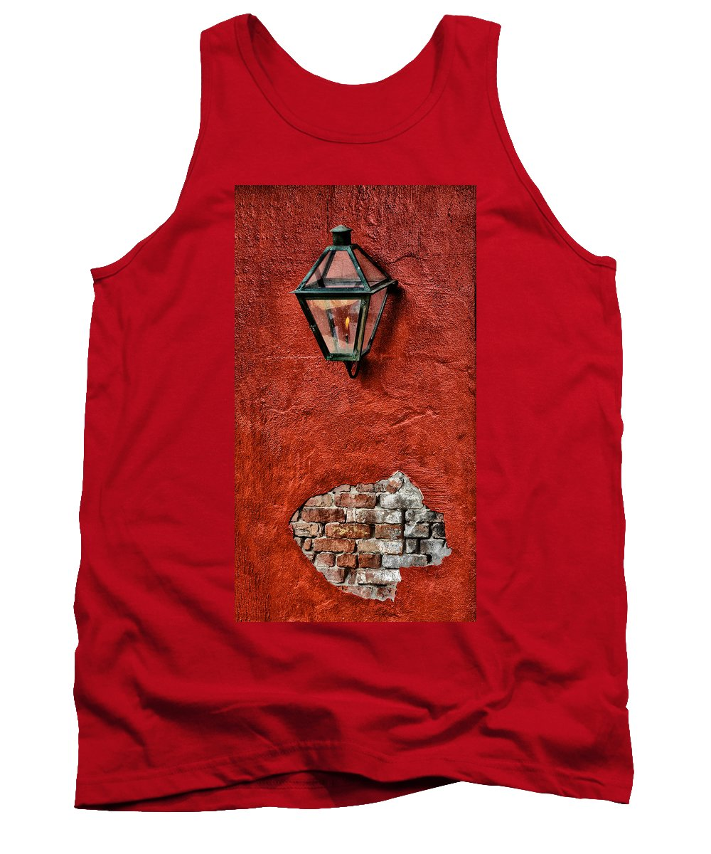 Gaslight On A Red Wall Tank Top featuring the photograph Gaslight On A Red Wall by Bill Cannon